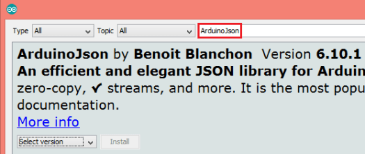 Installing ArduinoJson form the Arduino IDE library manager.