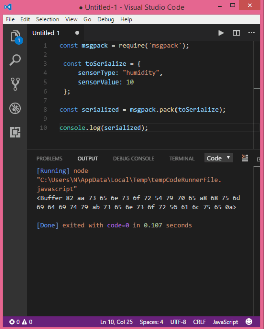 Output of the program, tested on Visual Studio Code, showing the MessagePack payload obtained.