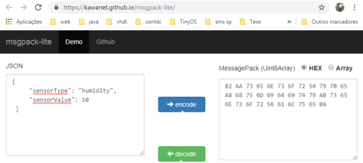 Using an online tool to obtain the expected MessagePack payload,