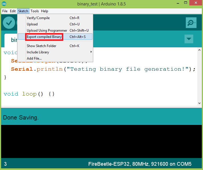 Exporting the Arduino Sketch compiled binary.
