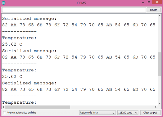 Output of the program on the Arduino IDE serial monitor, showing the temperature measurement and the encoded message.