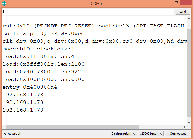 Output of the program, showing the same result for the three methods of obtaining the IP address.