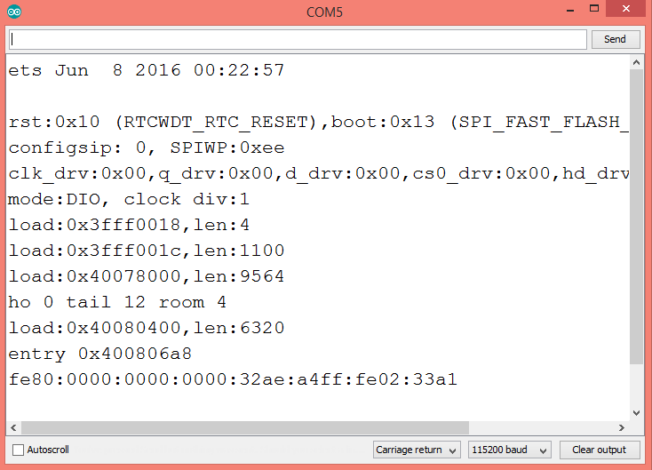 Output of the program on the Arduino IDE serial monitor, showing the ESP32 soft AP IPv6 address.