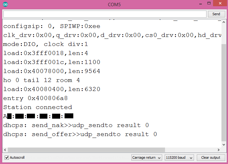 Output of the program on the Arduino IDE serial monitor.
