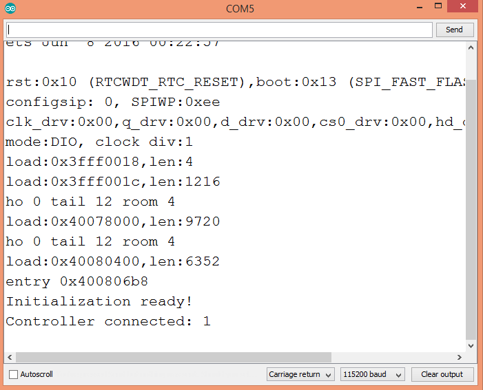 Output of the program, showing the value printed by the callback function when the controller is connected