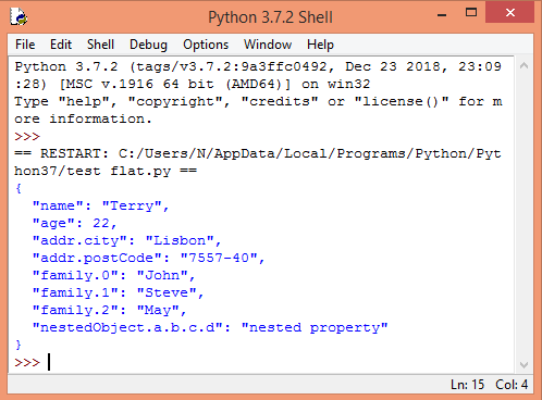 Output of the program, showing the flattened JSON on IDLE, a Python IDE.