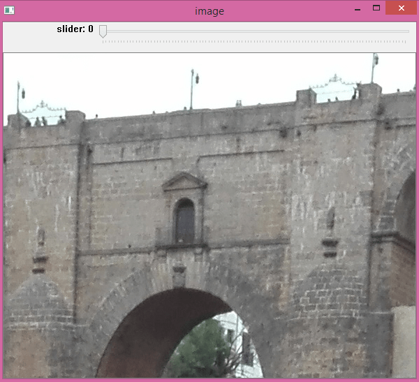 Adding a slider to the image with OpenCV.