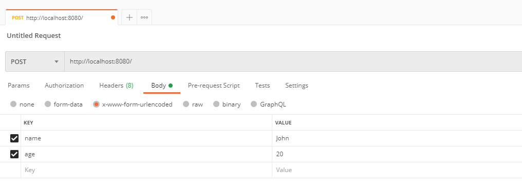 Submitting HTTP POST request with URL encoded body, from Postman.