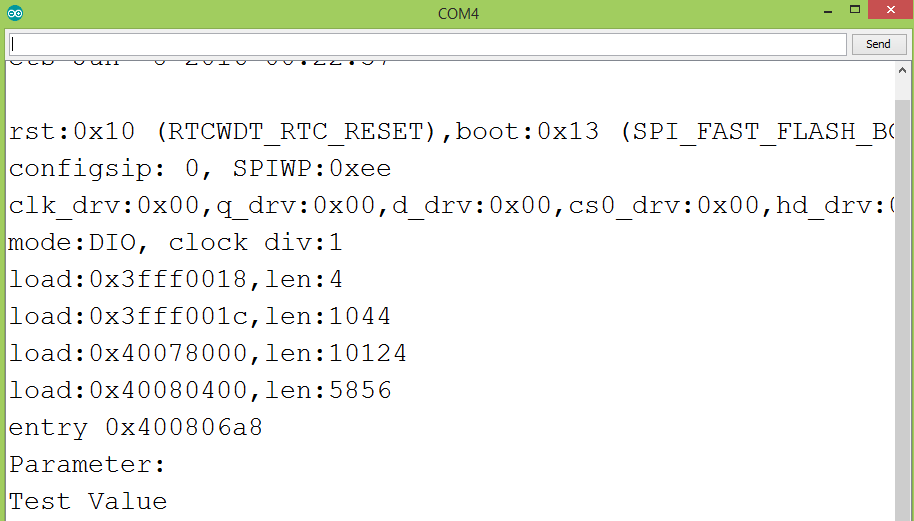 WiFi Manager custom parameter printed to the Arduino IDE Serial Monitor.