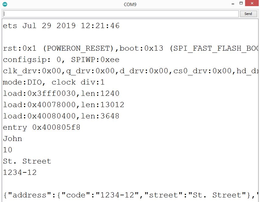 Result of the program to deserialize a JSON string.