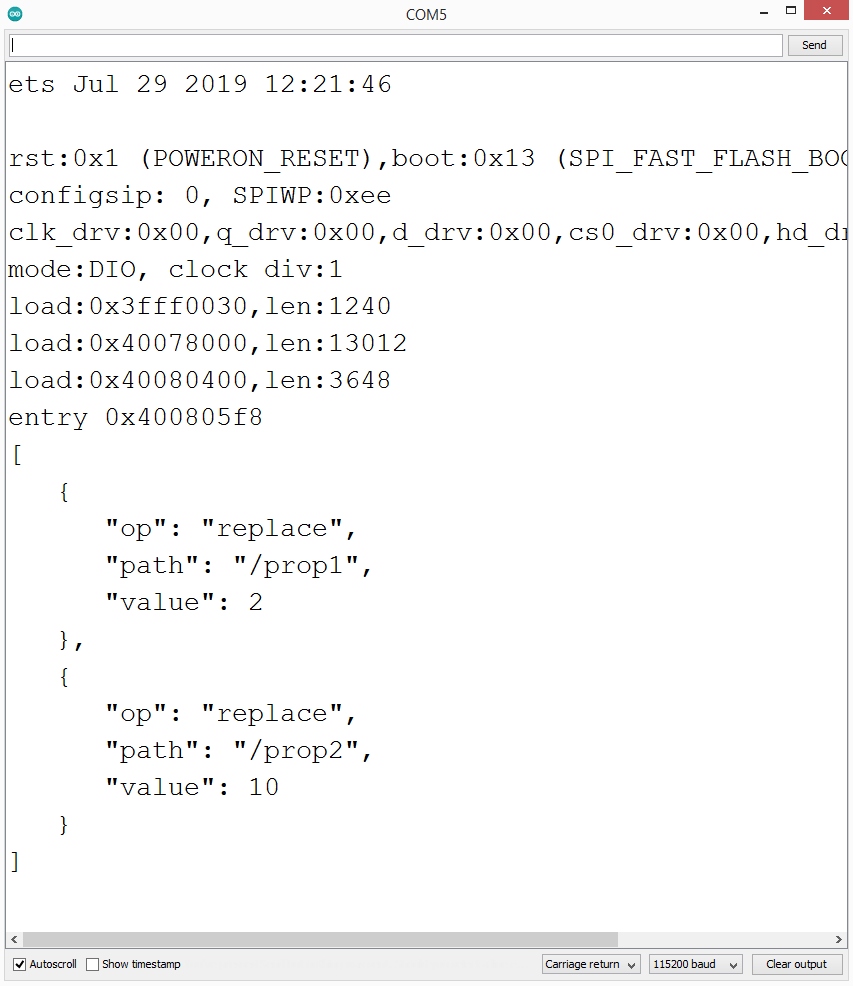 JSON diff on updated properties.