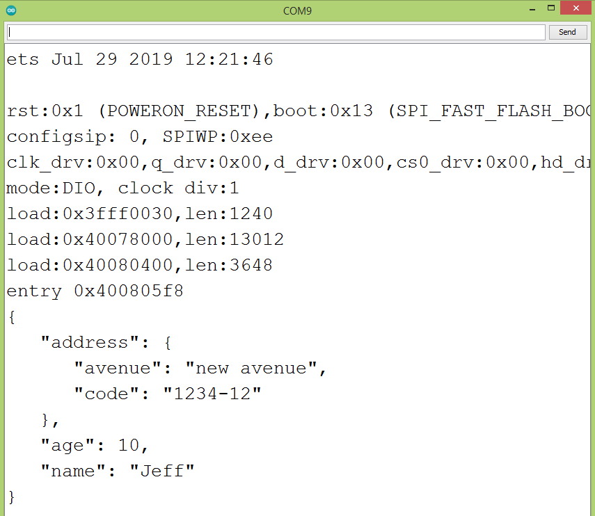 Result of the JSON merge patch operation on the ESP32.