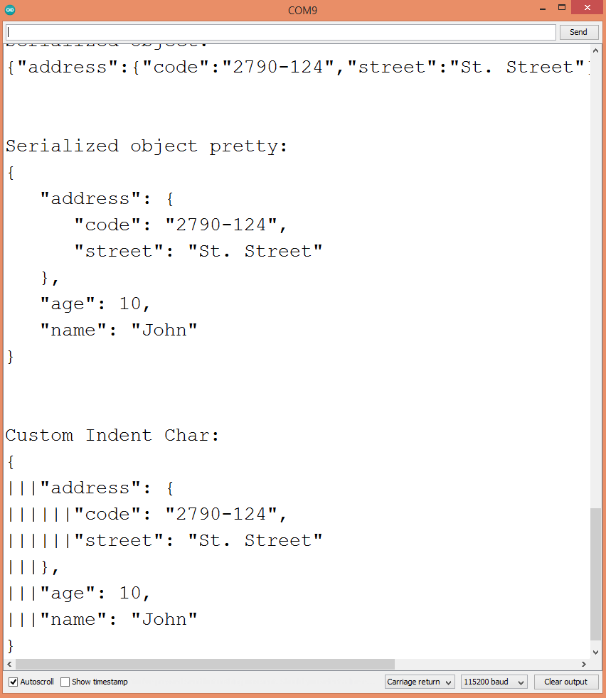 Result of the JSON object serialization.