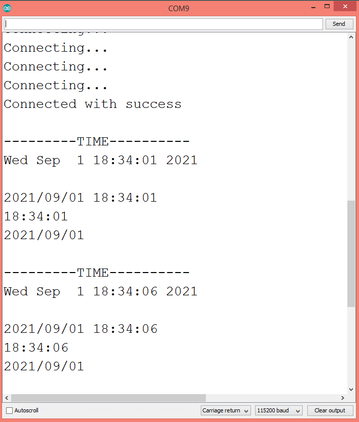 Output of the program, showing the different time formats.