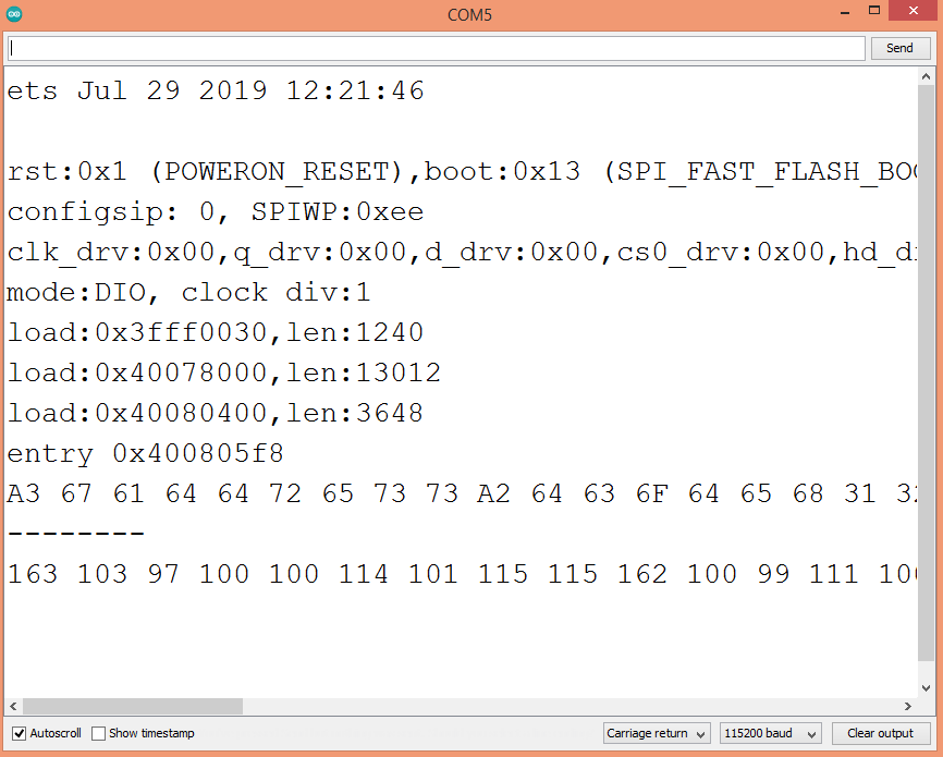Result of the CBOR serialization, performed with the ESP32.
