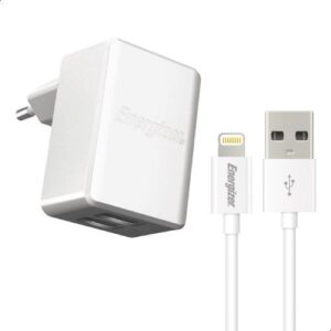 Energizer Dual USB Wall Charger with Lightning Cable,...