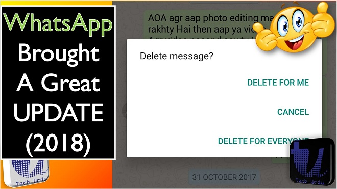 WhatsApp Delete for Everyone Time Extended update - tech urdu - thumbnail - WhatsApp Extends Message Recalling Time