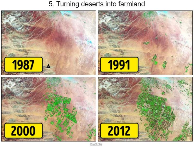 15 Photos of Earth Before and AFter - Turning Deserts in Farmlands - Tech Urdu