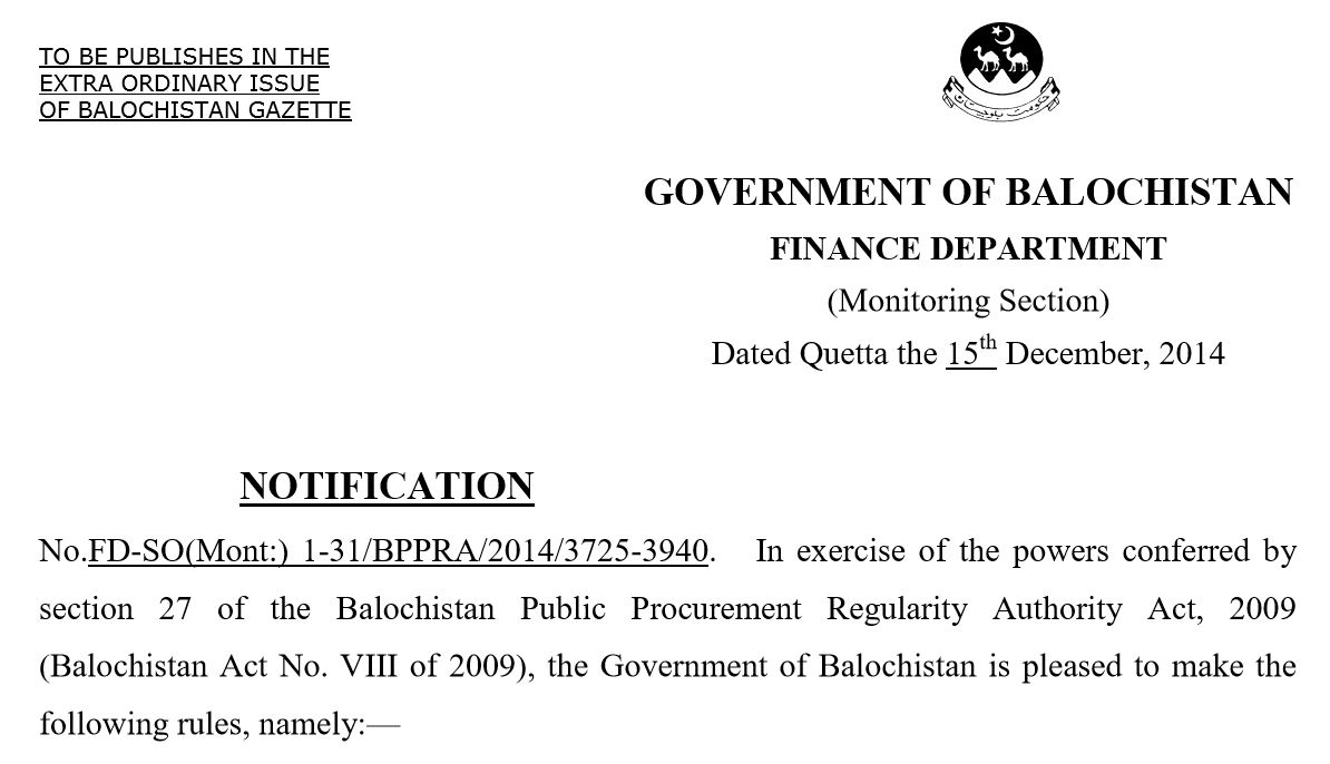 Balochistan Public Procurement Regulatory Authority (BPPRA) 2014 Rules