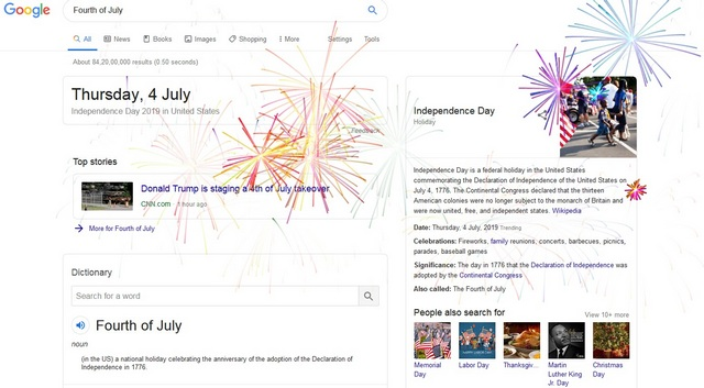 Google's New Fun Easter Eggs - Celebrate 4th of July with Fireworks on Your Screen - Tech Urdu