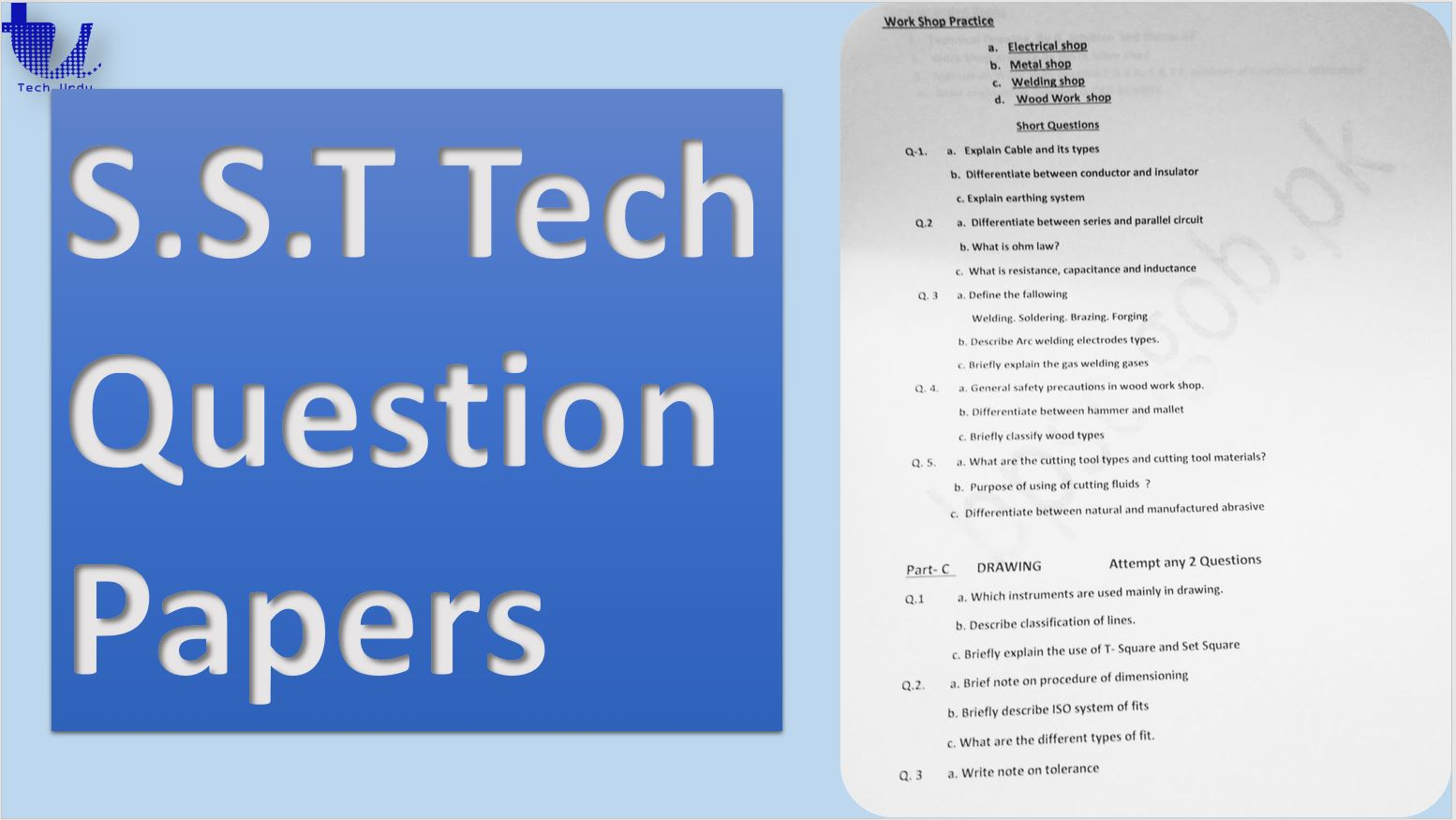S.S.T Tech Question Papers - Tech Urdu