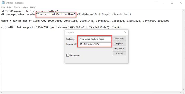 Fix MacOS Mojave screen resolution on Virtualbox