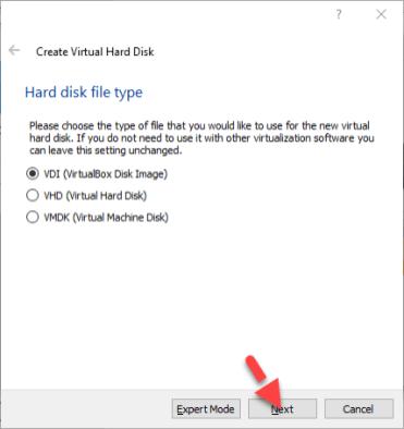 Virtual Machine Hard disk file type