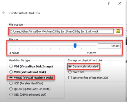 install macos 11 on virtualbox