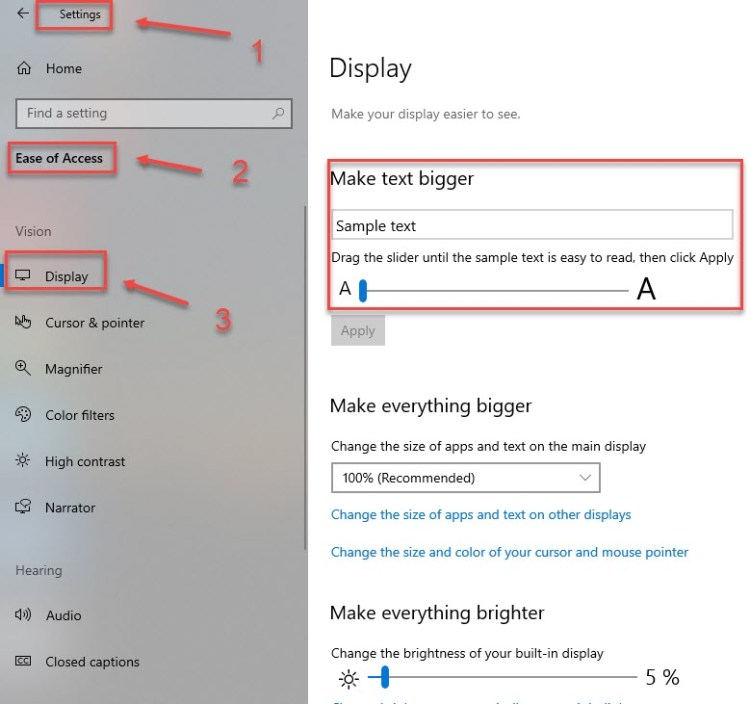 change font size in windows 10