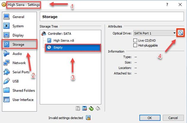 configure settings in Virtualbox