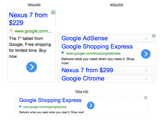 custom sized adsense ad unit text