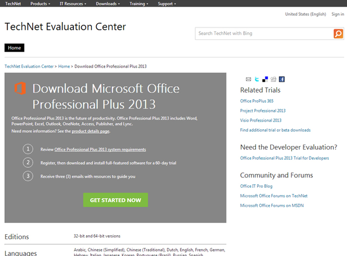 download microsoft office 2013 trial 32 bit