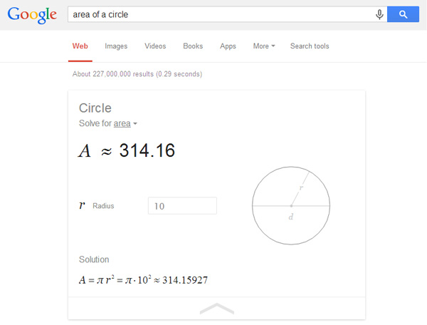 Solve Geometry Problems with Google Search Calculator