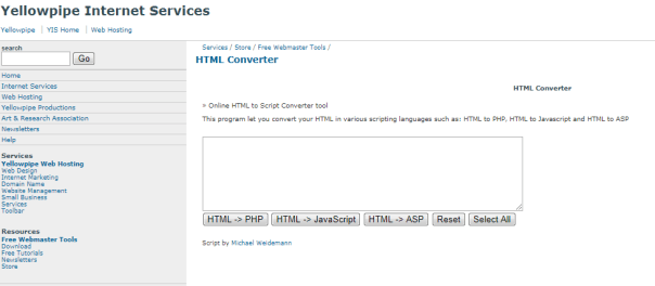 Yellowpipe-HTML Convertor-Top Online HTML Conversion Tools
