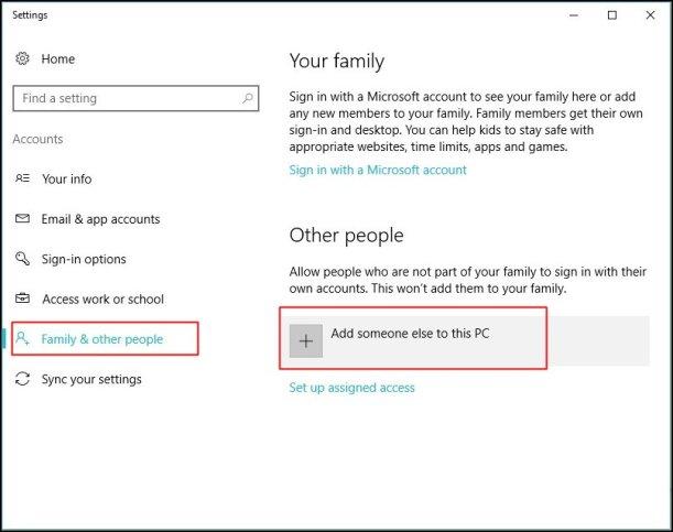 Create a Guest Account in Windows 10