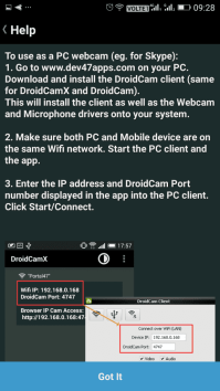 Using DroidCam