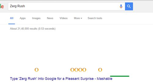 Zerg Rush - hidden games on google search