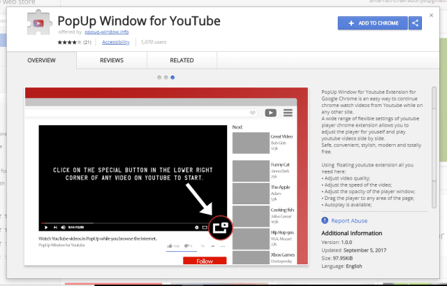 Using PopUp Window For YouTube
