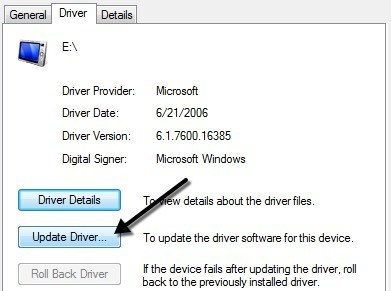 Updating USB Driver