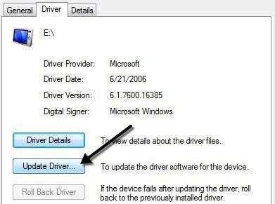 Updating USB Driver