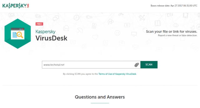 Using Kaspersky VirusDesk