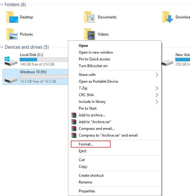 Repairing PenDrive using Windows Explorer