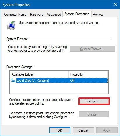 Select the installation drive and click on 'Configure'