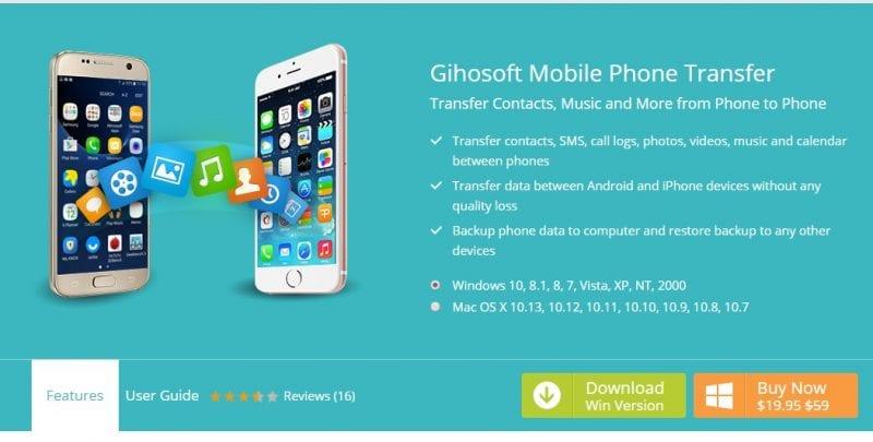 Using Gihosoft Mobile Phone transfer