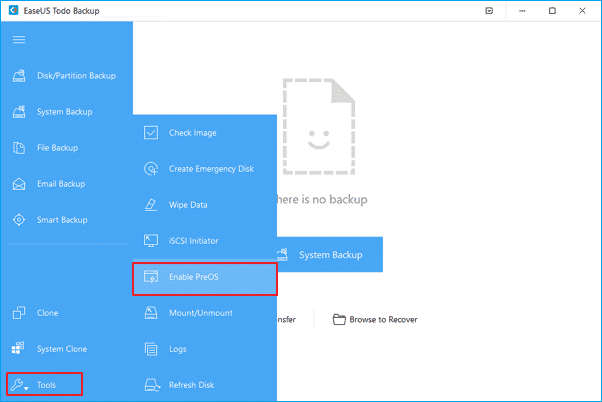 Head to the Tools > Enable PreOS
