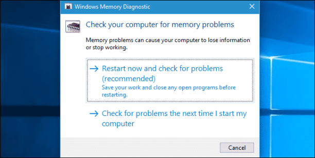 Use Memory Diagnostic