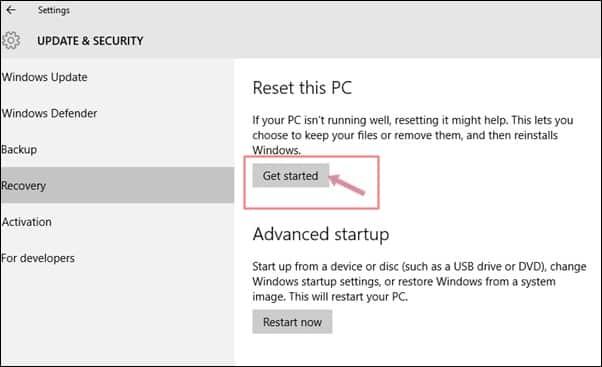 Reset Your Windows 10