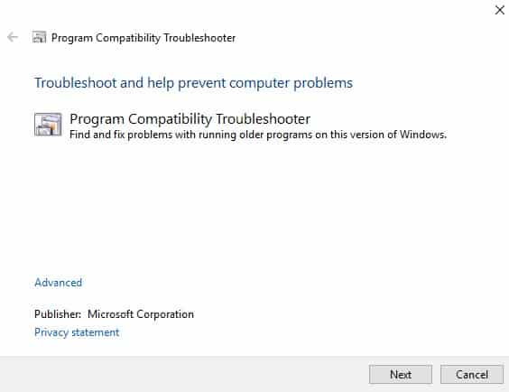 Use Windows Programs Compatibility TroubleShooter