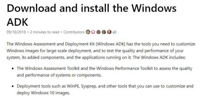 Download & Install Windows 10 ADK