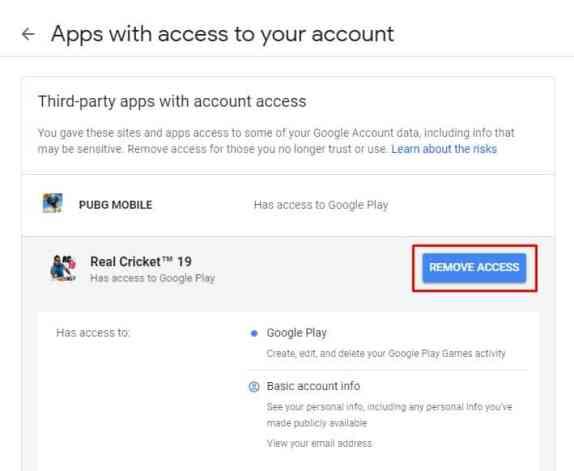 Click on 'Remove Access'